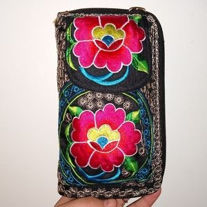 BOHO Mexican embroidered flowers purse Wallet